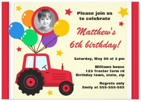 Farm themed birthday party invitation for kids parties