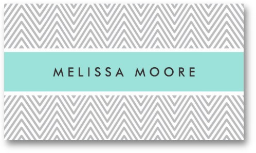 Fashionable business card with light gray chevron zigzag pattern
