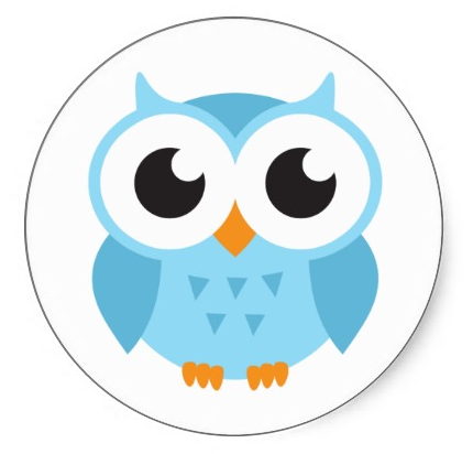 Cute stickers featuring a cartoon illustration of a little blue baby owl