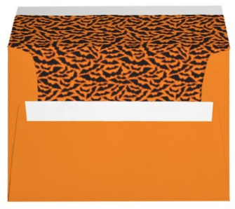 Fun, orange envelopes with black bats for Halloween party invitations