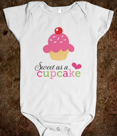 "Cute baby creeper for little girls with text ""Sweet as a cupcake"" and colorful cartoon illustration"